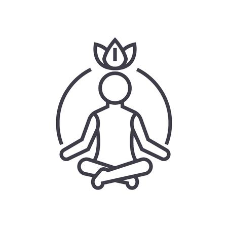 medytacja relaksacyjna, uważność, ikona linii wektora koncentracji, znak, ilustracja na białym tle, edytowalne obrysy Ilustracje wektorowe
