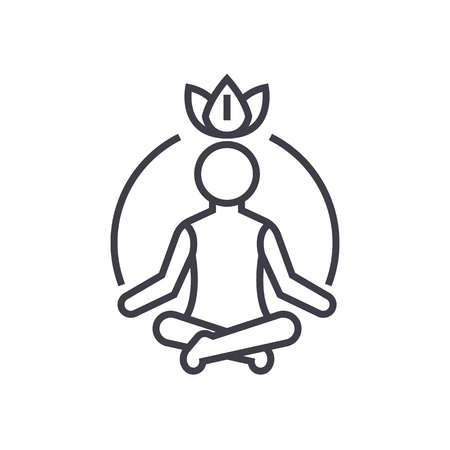 relaxation meditation,mindfulness,concentration vector line icon, sign, illustration on white background, editable strokes