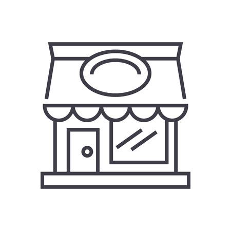 restaurant building vector line icon, sign, illustration on white background, editable strokes