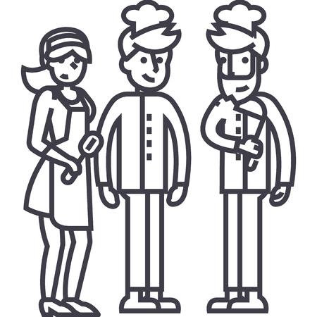 restaurant team, ober, fornuis. barman vector lijn pictogram, teken, illustratie op witte achtergrond, bewerkbare lijnen Stock Illustratie