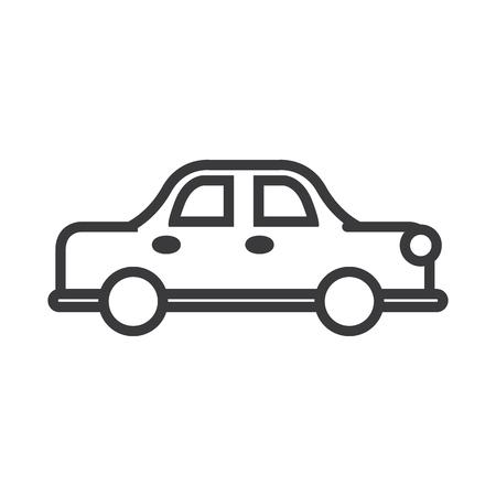 retro car vector line icon, sign, illustration on white background, editable strokes