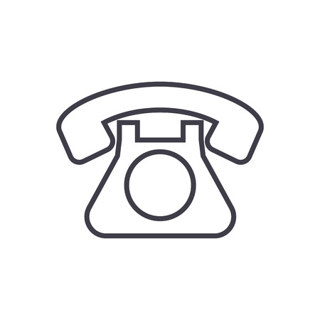 retro phone  vector line icon, sign, illustration on white background, editable strokes Illustration