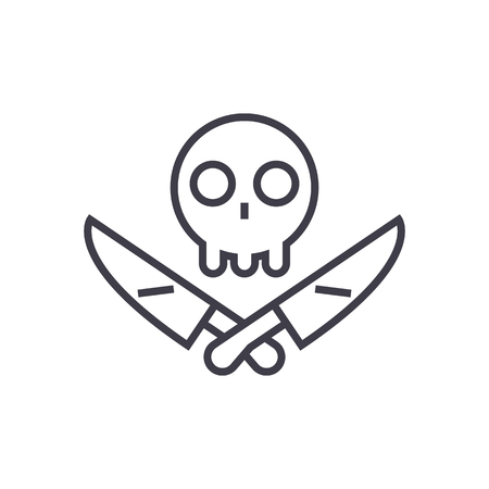 scull with knifes vector line icon, sign, illustration on white background, editable strokes