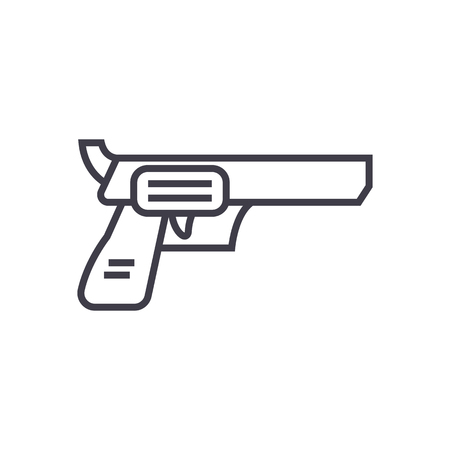 revolver, pistol vector line icon, sign, illustration on white background, editable strokes