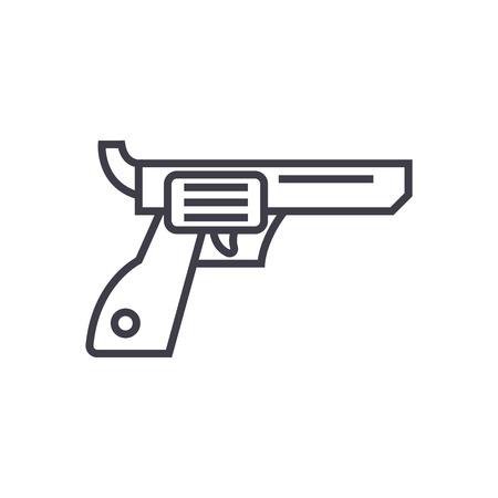revolver,gun,cowboy vector line icon, sign, illustration on white background, editable strokes