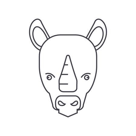rhinoceros vector line icon, sign, illustration on white background, editable strokes Illustration