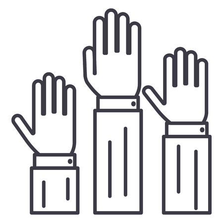 rights,three hands up  vector line icon, sign, illustration on white background, editable strokes Illustration