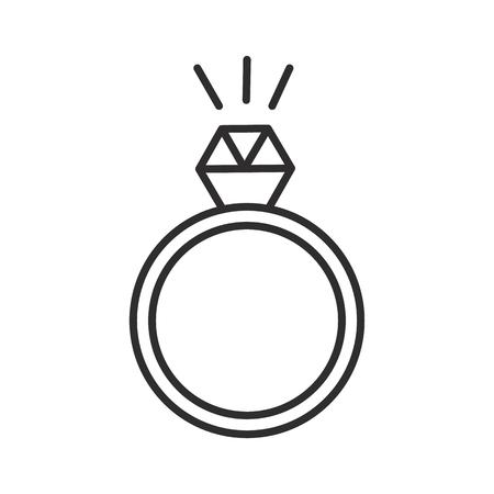 リング ダイヤモンド ベクトル線アイコン、記号、白い背景に、編集可能なストロークの図