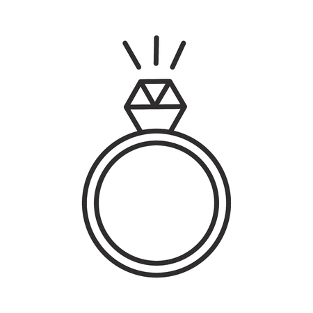 ring with diamond vector line icon, sign, illustration on white background, editable strokes Иллюстрация