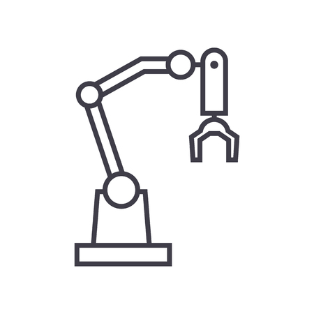robot arm vector line icon, sign, illustration on white background, editable strokes Çizim