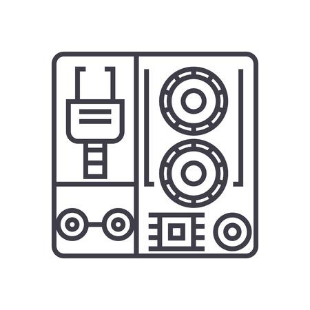 로봇 산업 키트 벡터 라인 아이콘, 기호, 흰색 배경에 그림 편집 가능한 획 일러스트