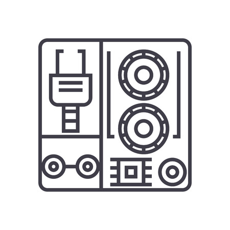 robot industrial kits vector line icon, sign, illustration on white background, editable strokes Illustration