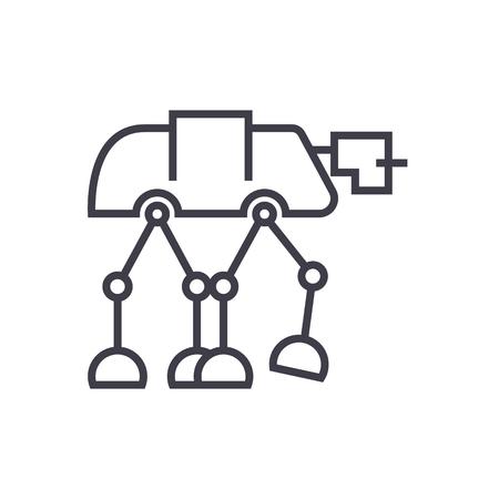 ロボット warior 装甲輸送ベクトル線アイコン、記号、白い背景に、編集可能なストロークの図  イラスト・ベクター素材