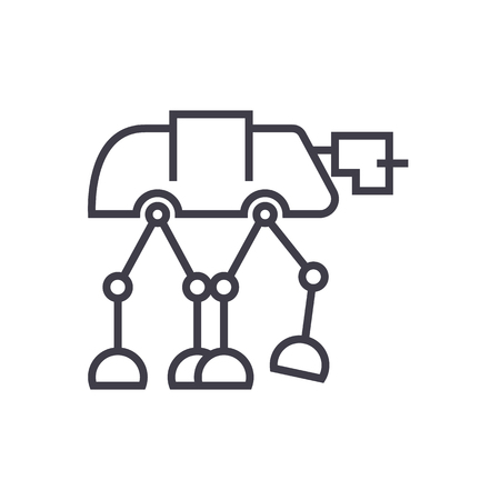 robot warior, armored transport  vector line icon, sign, illustration on white background, editable strokes