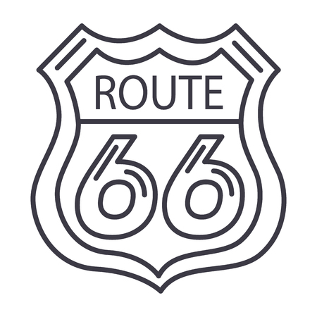 route 66 sign vector line icon, sign, illustration on white background, editable strokes 向量圖像