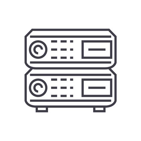 라우터 벡터 라인 아이콘, 기호, 흰색 배경에 그림 편집 가능한 획 일러스트