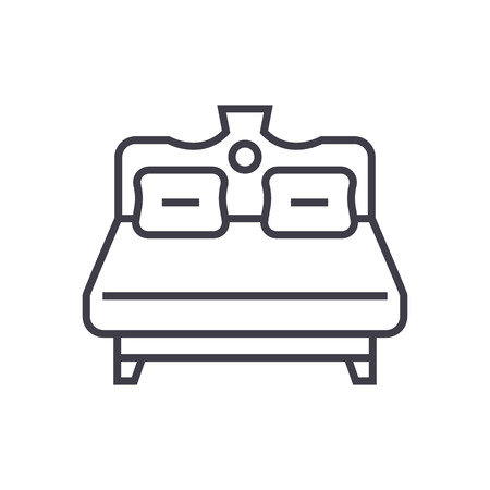 royal double bed vector line icon, sign, illustration on white background, editable strokes