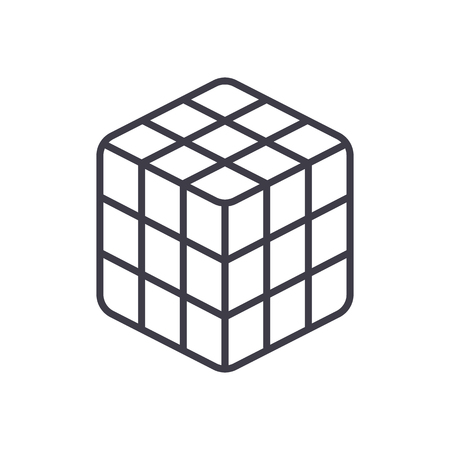 rubik cube  vector line icon, sign, illustration on white background, editable strokes