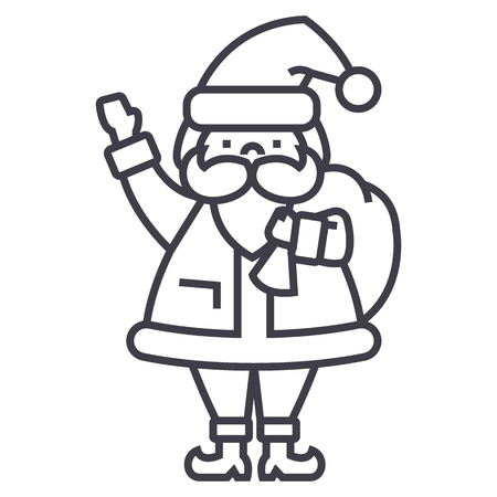 santa claus vector line icon, sign, illustration on white background, editable strokes