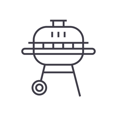 round barbeque vector line icon, sign, illustration on white background, editable strokes