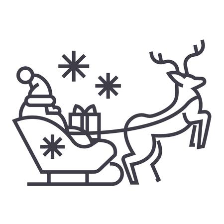Père Noël dans un traîneau avec une icône de ligne de vecteur de cerf, signe, illustration sur fond blanc, coups modifiables Banque d'images - 87222744
