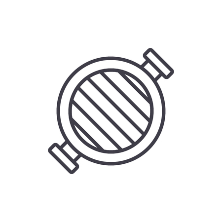 round grill  vector line icon, sign, illustration on white background, editable strokes Illustration