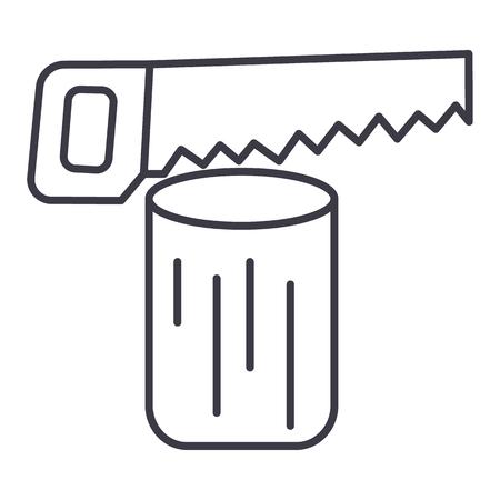 白い背景に、編集可能なストロークのログをチェーンソー ベクトル線アイコン、記号、イラストを見た  イラスト・ベクター素材