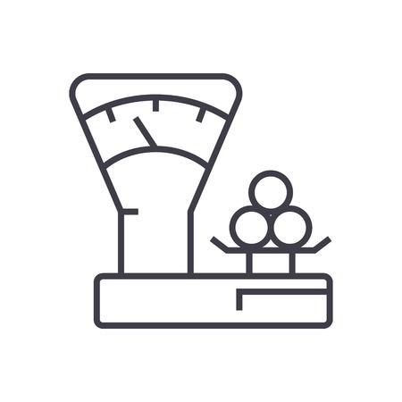 scales counter,shop vector line icon, sign, illustration on white background, editable strokes Ilustração