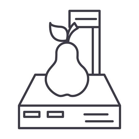 白い背景に、編集可能なストロークの図記号、pear ベクトル線アイコン スケール ショップ