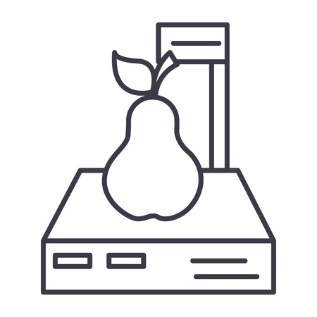 scales shop,pear vector line icon, sign, illustration on white background, editable strokes