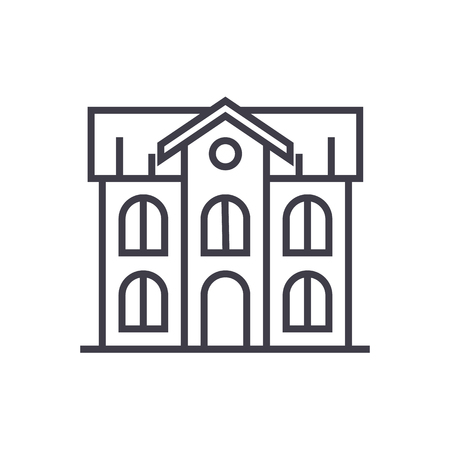 school building vector line icon, sign, illustration on white background, editable strokes
