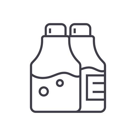 塩とコショウの調味料ベクトル線アイコン。
