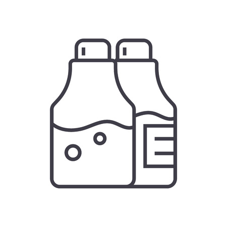 Salt and pepper seasoning vector line icon.