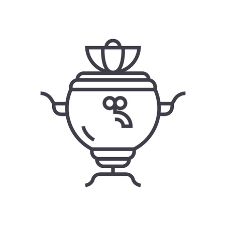 matryoshka: Samovar vector line icon. Illustration