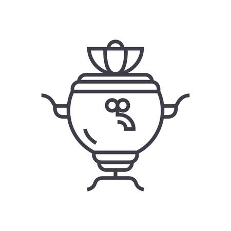 Samovar vector line icon. Illustration