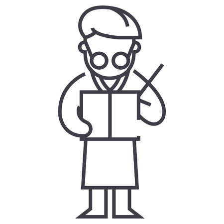 Scientist writing report vector line icon. 向量圖像
