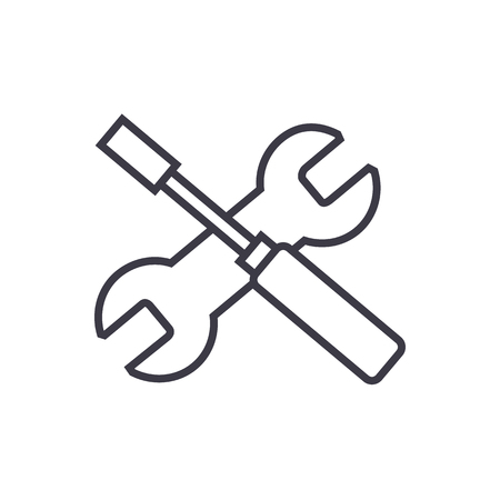 Screwdriver and wrench vector line icon.