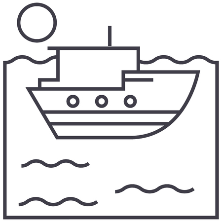 A sea ship vector line icon.