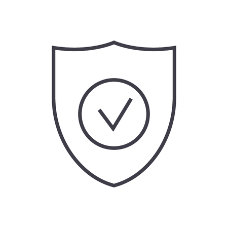 Secure shield vector line icon.