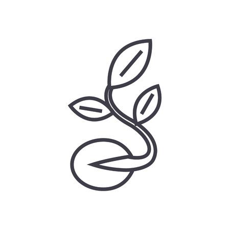 Zaad met groeiende plant vector lijn pictogram.
