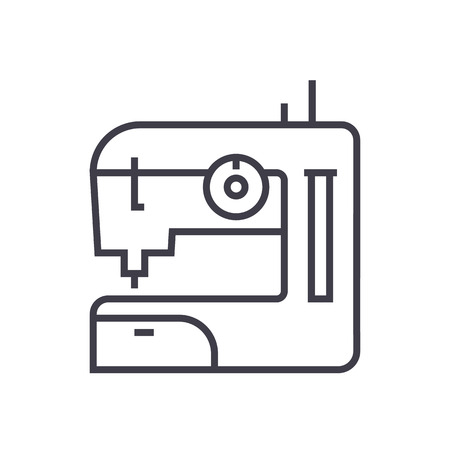 sewing machine vector line icon, sign, illustration on white background, editable strokes
