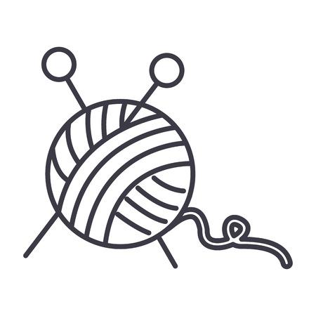바느질, 원사, 뜨개질 바늘의 공 벡터 라인 아이콘, 기호, 흰색 배경에 그림 편집 가능한 획