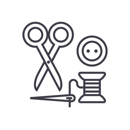 sewing,scissors, thread, needle, button vector line icon, sign, illustration on white background editable strokes