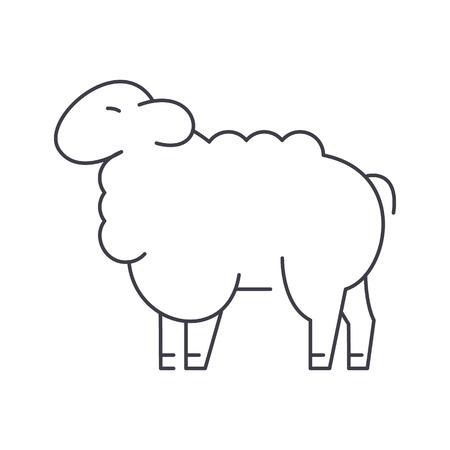 Icono de línea de vector de ovejas, signo, ilustración sobre fondo blanco, trazos editables Foto de archivo - 87265834