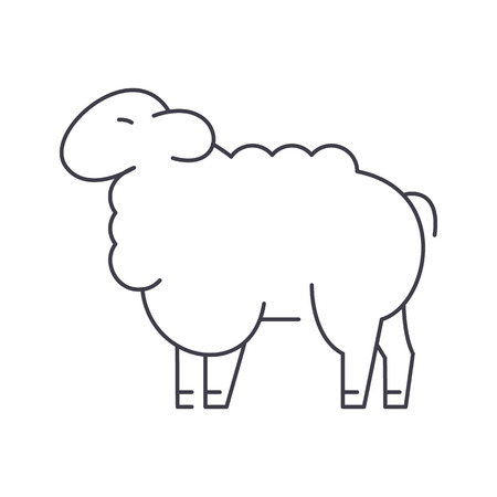 sheep vector line icon, sign, illustration on white background, editable strokes Illustration