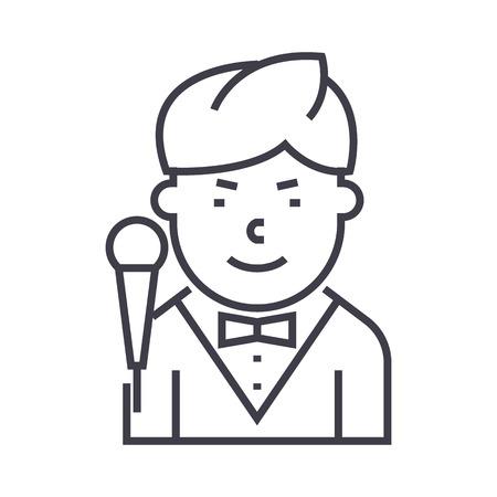 showman vector line icon, sign, illustration on white background, editable strokes Illustration