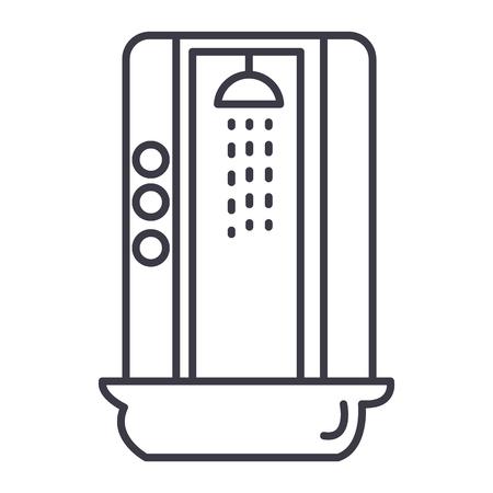 샤워 오두막 벡터 라인 아이콘, 기호, 흰색 배경에 그림 편집 가능한 획