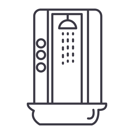 shower cabin vector line icon, sign, illustration on white background, editable strokes