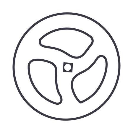 셔터 파이프, 밸브 벡터 라인 아이콘, 기호, 흰색 배경에 그림 편집 가능한 획