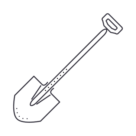shovel vector line icon, sign, illustration on white background, editable strokes Çizim